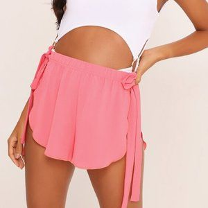 Coral Flowy Beach Shorts Side Ties